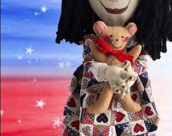 Primitive Cloth Dolls, Cloth Dolls, Dolls, Gifts, OOAK, Handmade, Diana's DZines, Primitive, children, Holiday, Rag Dolls