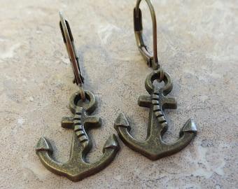 Boucles d'oreilles ancre Bronze antique