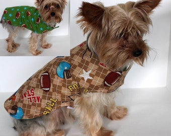 Football Dog Shirt, S (small) All Star Cotton Dog Wrap, Reversible dog clothes