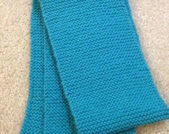 Aqua handknitted scarf
