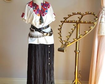 1980's crazy cowgirl, broomstick skirt