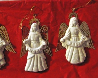 4 Porcelain and Gold Angels ornaments