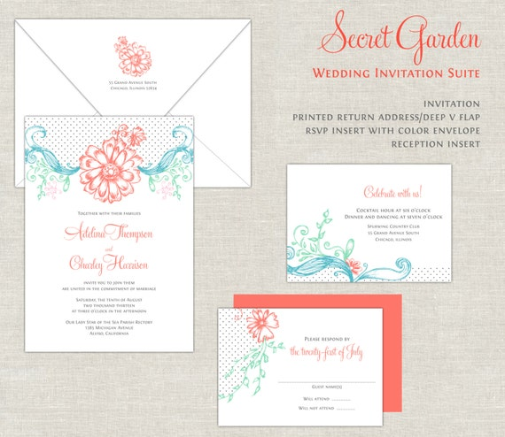 Items similar to Coral Turquoise Wedding Invitations Garden