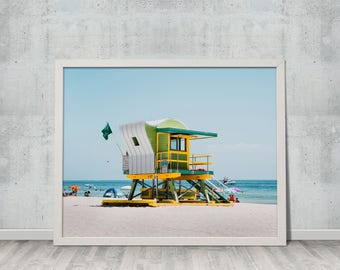 Digital Download, Fine Art Photography, Summer, Ocean, Landscape, Wall Art, Miami Beach Lifeguard Tower, Gift for Her, Gift for Him, #4