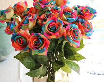 Rainbow Flowers Real Touch Roses Colorful Flowers 20 Stems Silk Wedding Flowers Latex Rose For Wedding Ceremony Centerpieces ZHH-DSG-B12