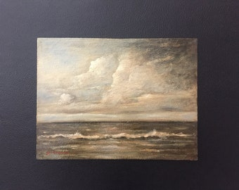 "Original Seascape Oil Painting 9""x12"" on Masonite by Alfio Grasso Signed"
