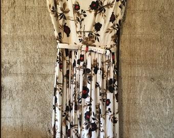 Vintage 1950's Leslie Fay Dress, vintage dress, Leslie Fay dress, floral print dress