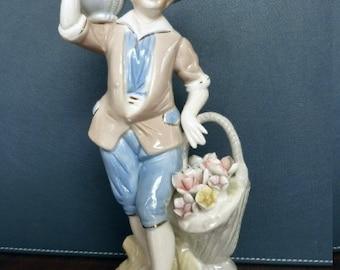 SALE Vintage Colonial Boy Figurine w/ Basket of Flowers Porcelain Flowers Porcelain Figurine Boy with Flowers Figurine MINT