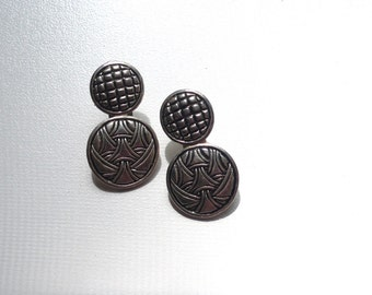 Vintage Silver Tone Etched Dangle Earrings
