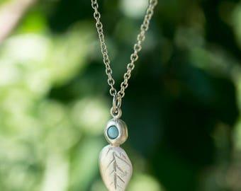 Larimar leaf and bud necklace