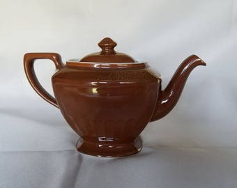 Hall Teapot Hollywood Regency Chocolate Brown Gold Vtg 1930s 5 Cup 0102