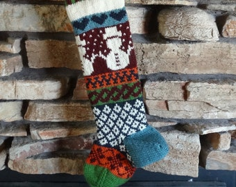 Christmas Stocking, Personalized Christmas Stocking, Knitted Christmas Stockings, Knit Christmas Stocking, Burgundy Snowman, Navy Hearts