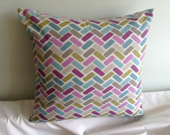 "Clearance 16"" modern purple, blue, green, chevron cushion cover, pillow, pillow case, scatter cushion. Pillow sham"