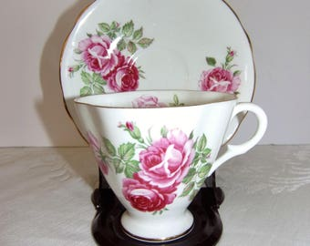 Clarence China Pattern 373-52 Tea Cup and Saucer