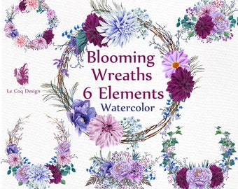 "Watercolor Wreaths Clipart: ""WEDDING WREATHS"" Wedding clipart Invitation clipart DIY invites Floral clipart Peony clipart Watercolor flowers"