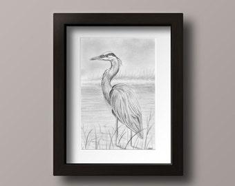 Great Blue Heron Print - Heron Print - Blue Heron Art - Blue Heron Wall Art - Blue Heron Decor - Blue Heron - Lake Art - Lake House Decor