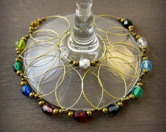 wedding wine charm - 24 crystal colors - bridal wine glass charm - bridal wine favors - wedding wine favor - antique gold wedding wine charm