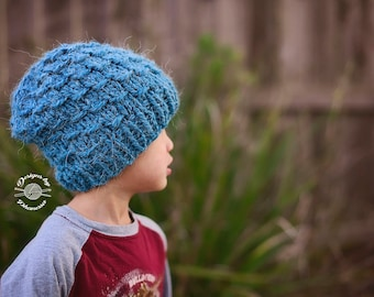 Knit Waffle Slouch Beanie PATTERN | Knitting Hat Pattern | Knitting Beanie Pattern | Slouch Hat Pattern | Instant Download Pattern
