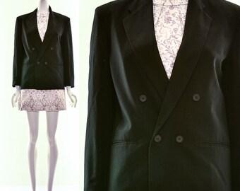 Vintage TUXEDO LINEN BLAZER Black Linen Double Breasted Blazer Made in the usa Minimalist Tuxedo Small Medium