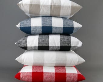 Buffalo Plaid Pillow Cover -MANY SIZES- Big Check, Euro Sham, Decorative Throw, Red, Blue, Black, Gray, Ecru, White, Anderson Premier Prints