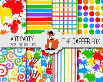 Art Party Digital Paper Pack - INSTANT DOWNLOAD - 12x12 - paint splash, stripes, spirals, spots, paint splatter