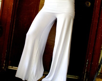 SUMMER WHITE wide leg elegant flowy rayon lycra palazzo gaucho resort lounge beach pants with fold over skirt waist