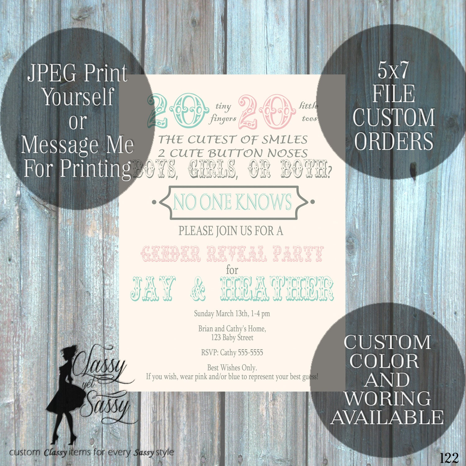 Twins Gender Reveal Invitation Twins Invitation Twins Baby