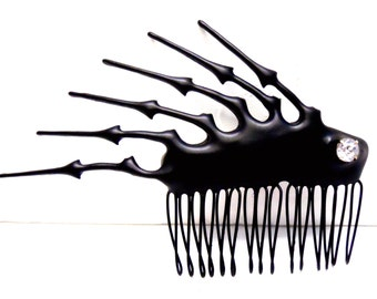 Spiky Black Hair Comb Steampunk Gothic with clock hands elegant goth bride princess evil queen hair ornament- Danse Macabre