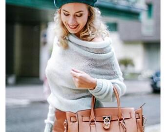 Women's sweater. Premium yarn. Womens pullover. Merino wool. Wool-70%, Silk-30