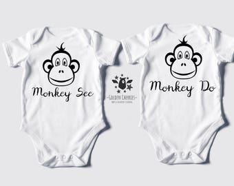 Monkey Twins One Pieces, Monkey See Monkey Do, Monkey Twins T-Shirts