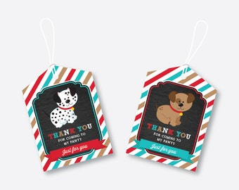 Instant Download, Puppy Favor Tags, Dog Favor Tags, Puppy Birthday Tags, Thank You Tags, Gift Tags, Puppy Printable, Chalkboard (CKB.287)