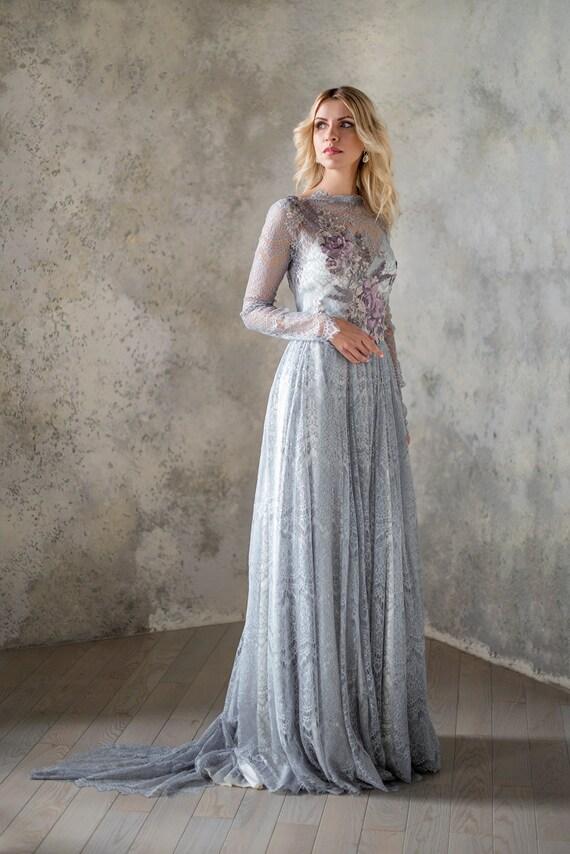 gray wedding dress lace wedding dress two piece dress boho