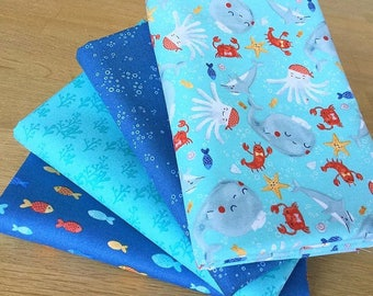 SAIL AWAY Fat Quarter Bundle A by Clothworks Children Sea Fish Octopus fabric