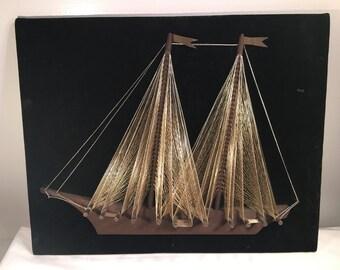 Fantastic Mid Century String Sailboat Art