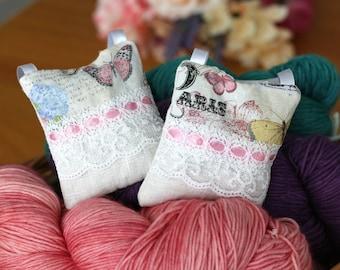 Lavender Sachets, Set of 2 Hanging Organic  Lavender Pillows, Dried Lavender for Yarn Storage