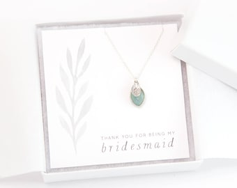 Custom Bridesmaid Initial and Birthstone Necklace, Bridal Proposal, Personalized Gift Necklace, Sterling Silver, Dainty Gemstone, Simple