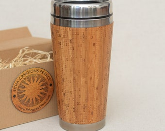 Wooden Travel Mug | Matrix  01 |Customized Gift Full Design Engraved Bamboo Car Desk Coffee Tea Cup Stainless Steel