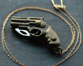 Revolver Gun Shaped Pocket Knife Necklace / Miranda Lambert Style Gun Necklace