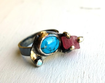 Turquoise Opal and Rough Pink Tourmaline Treasure Ring