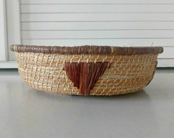 Vintage Hand Woven Coiled Basket Bowl Native American Navajo Design Needle Work Primitive Bohemian Southwestern Home Decor Boho Style
