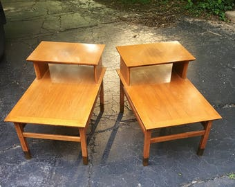 Pair of Mid Century Modern Step Up End Tables in the style of Edward Wormley