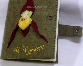 Agenda door with agenda – cover agenda – cover agenda – cover in felt flowers with perpetual agenda