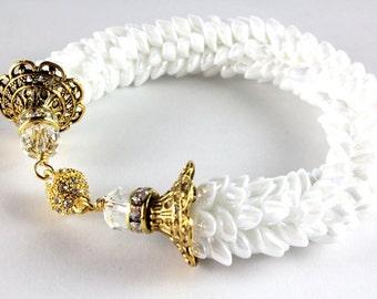White Pearl Beaded Kumihimo Bracelet - Magatama Beads - Winter White - Dragon Scale - Opaque Pearl - Bridal Jewelry