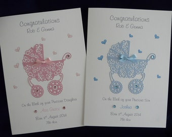 Personalised New Baby Card with Pram & Gems Pink or Blue