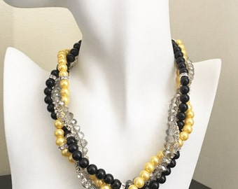 Bridesmaid Gift Black Necklace Yellow Necklace Pearl Jewelry Multistrand Necklace Chunky Necklace Bridesmaid Jewelry Gift for Her Wedding