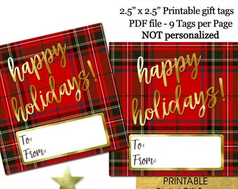 Christmas Gift Tags Printable, Christmas Gift Tags Download, Tartan Plaid Gold, INSTANT DOWNLOAD