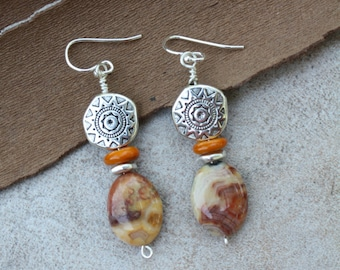 17 Crazy lace agate and silver charm drop dangle earrings, sterling silver ear wires, boho, nature, artisan, rustic, fall