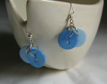 Summer Sky Blue Button Earrings