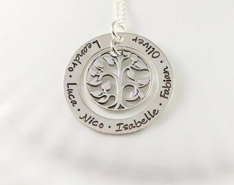 Personalized jewelry - Grandmother necklace - Mom jewelry - Gift for Mom - Hand stamped - Tree of life - Name necklace - Sterling silver