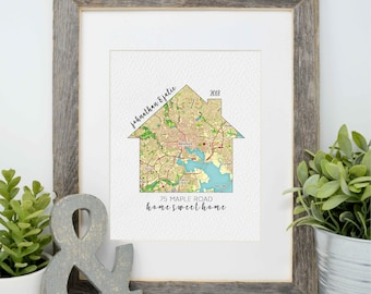 First Home Gift- Housewarming Present, Map of First Home, Moving Gift, Home is where the heart is, latitude longitude coordinates gift